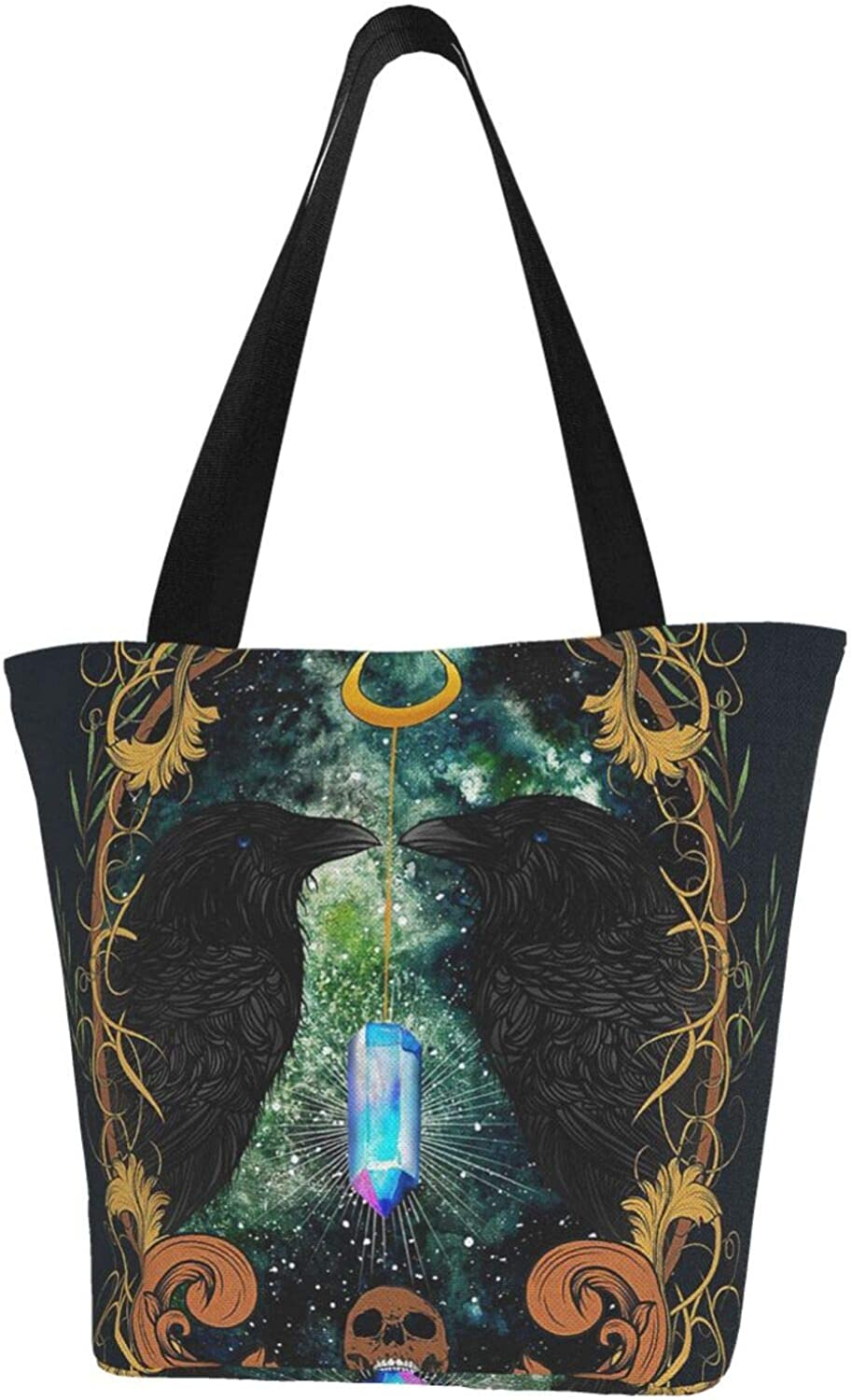 Wicca Wiccan Star Black Crow Diamond Themed Printed Women Canvas Handbag Zipper Shoulder Bag Work Booksbag Tote Purse Leisure Hobo Bag For Shopping