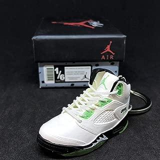 Air Jordan V 5 Retro Quai 54 White Green Q54 OG Sneakers Shoes 3D Keychain Figure + Shoe Box