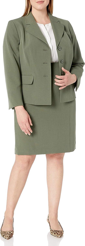Le Suit Women's Plus Size 3 Button Notch Collar Seamed Crepe Skirt Suit