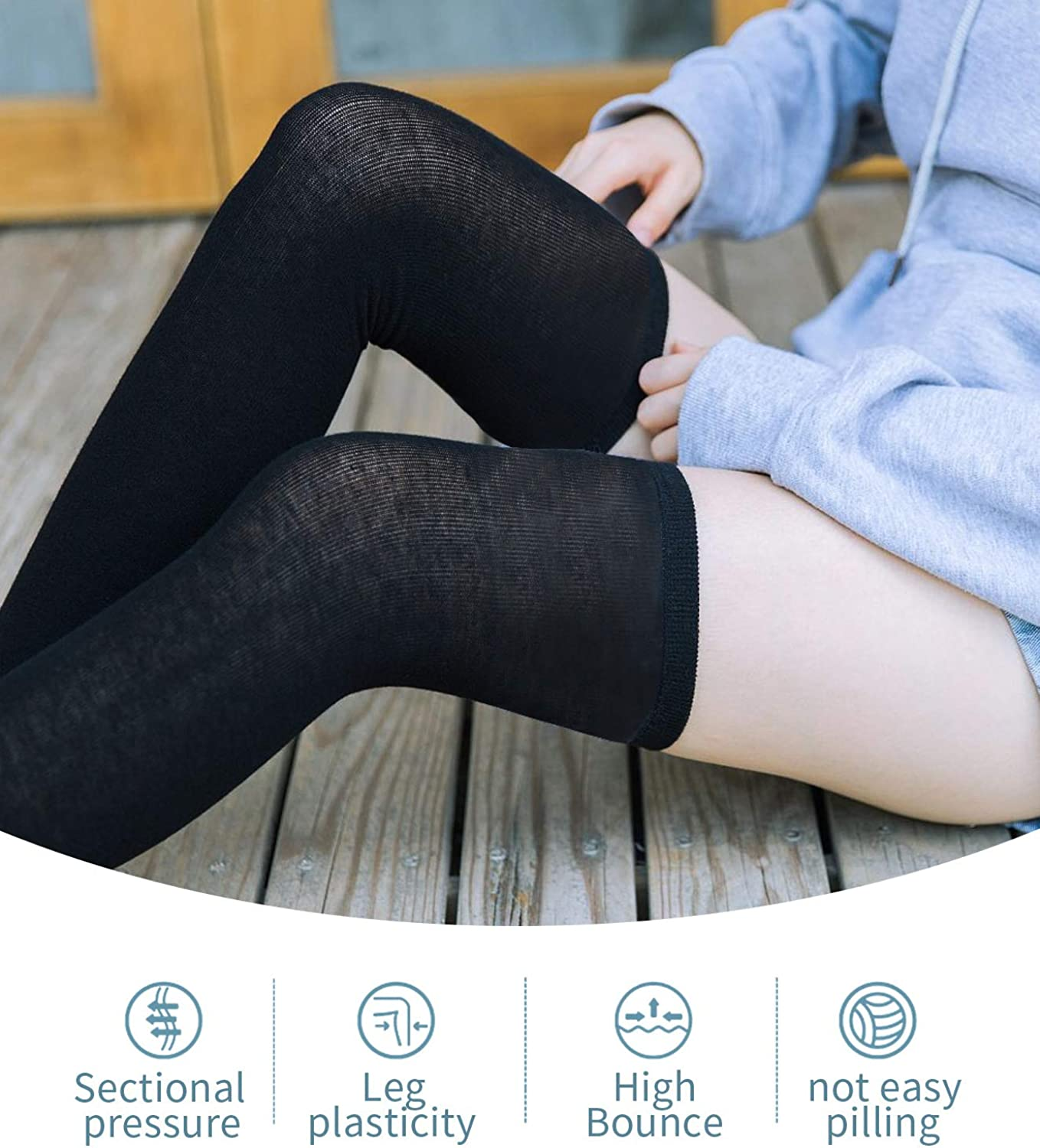 Gaoport 6 Pairs Womens Over Knee Thigh High Socks Warm Long Stockings Boot Leg Warmer for Women Girls Daily Wear Cosplay