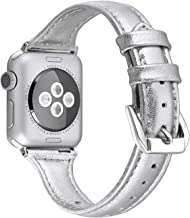 Secbolt Leather Compatible Apple Watch Band 38mm 40mm Slim Replacement Wristband Sport Strap for Iwatch Series 6 5 4 3 2 1...