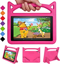 """New Fire HD 10 Tablet Case 2019/2017-SHREBORN LightWeight ShockProof Kid-Proof Cover with Stand Kids Case for All New Amazon Fire HD 10 Tablet(10.1"""",9th/7th/5th Generation,2019/2017/2015 Release)-Pink"""