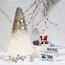 MJ PREMIER Glass Lighted Christmas Tree Upgrade Battery Operated Christmas Decoration, 6 Hour Timer Xmas Decor for Tableto...