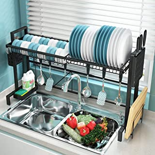 GH-YS Égouttoir à Vaisselle Extensible en Acier Inoxydable/Organisateur de comptoir de Cuisine avec Support pour ustensile...