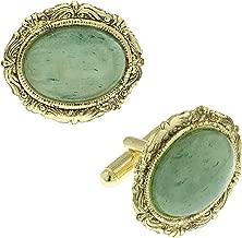 1928 Jewelry Unisex Gold Tone Oval Jade Cuff Links
