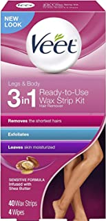 Veet Leg and Body Hair Remover Cold Wax Strips, 40 ct (Pack of 2)