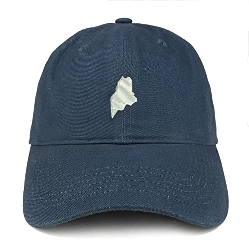ca96312cc1e51 Trendy Apparel Shop Maine State Map Embroidered Low Profile Soft Cotton  Brushed Baseball Cap