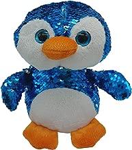 LMC Products Reversible Sequin Penguin Plush - Flip Sequin Stuffed Animal Penguin - Blue to Silver