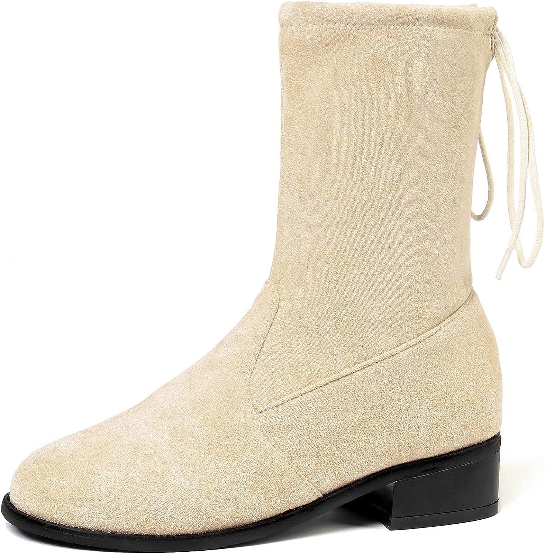 HEETIST Women's Strech Faux Suede Mid-Calf Boots Lace-up Block Low Heels Dress Bootie