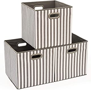 EZOWare Set of 3 Foldable Fabric Storage Bin with Handles, Collapsible Resistant Cube Basket Box Organizer for Shelves, Closet, and More - Gray & White Stripes (13x13x13 inch)