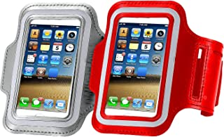 CaseHQ [2pack] Armband Phone Case 5.2 Inch Case for iPhone X,8,7,6,6S,SE,5C,5S,and Galaxy S5,Google Pixel [Water Resistant] Sports Exercise Running Pouch Reflective with Key Holder (Silver+red)