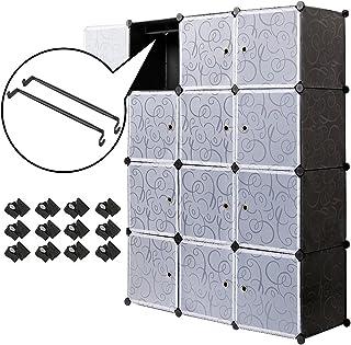 Meerveil Armoire Penderie Portable, Étagère de Rangement, Cubes de Stockage Modulaire en Plastique en métal Stable, Assemb...