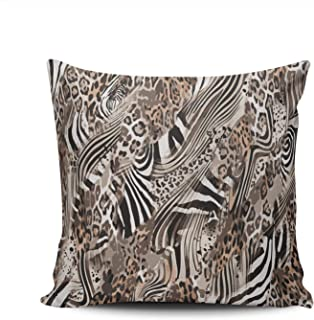 KELEMO Square Pillowcase Abstract Zebra Jaguar Leopard 24X24 Inch Throw Pillow Covers Decoration for Sofa Bed Double Sided Printed (Set of 1)