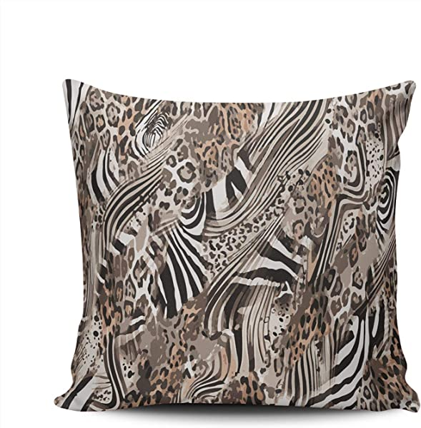 KELEMO Square Pillowcase Abstract Zebra Jaguar Leopard 24X24 Inch Throw Pillow Covers Decoration For Sofa Bed Double Sided Printed Set Of 1