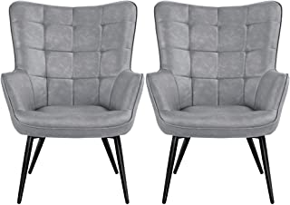 Yaheetech 2pcs Living Room Chairs Wingback Accent Chair Faux Leather Biscuit Tufted Armchair with Tapered Legs for Leisure...