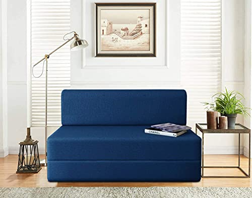 Aart Store One Seater Sofa Cum Bed Furniture One Seater for Home Living Room 3 X 6 ft Blue