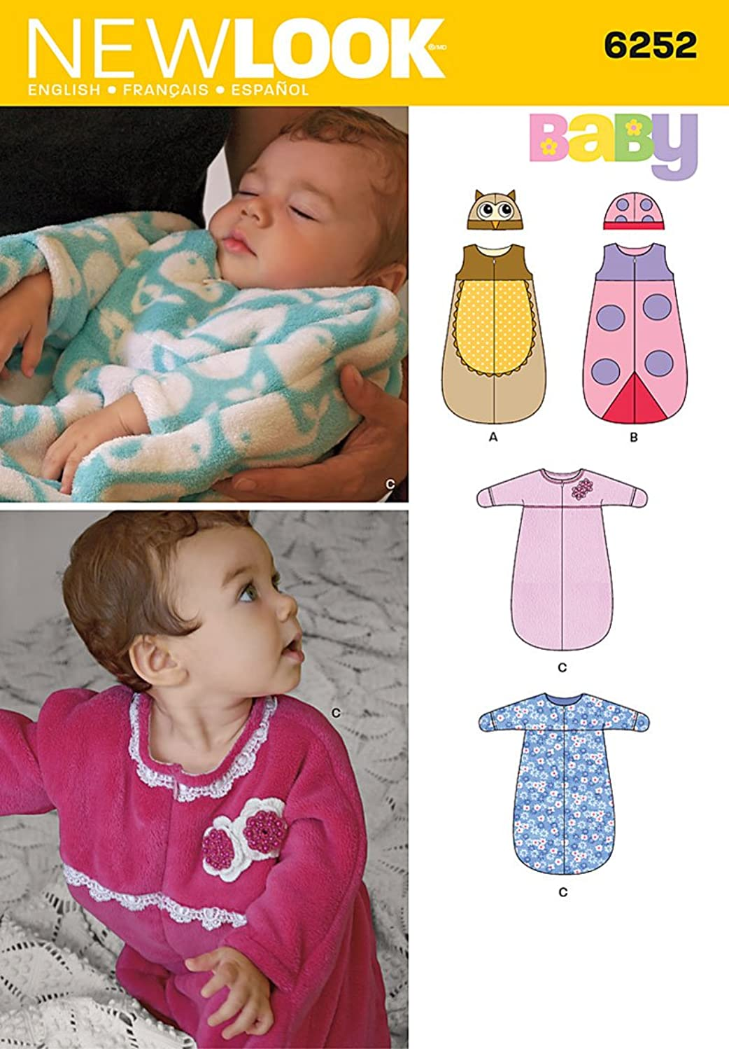 Simplicity Creative Patterns New Look 6252 Babies' Sack with or Without Sleeves and Hat, A (NB-Small-Medium-Large)