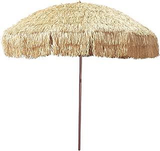 8' Hula Umbrella Thatched Tiki Patio Umbrella Natural Color 8 Foot Diameter Tropical Look Aluminum Pole 16 Fiberglass Ribs