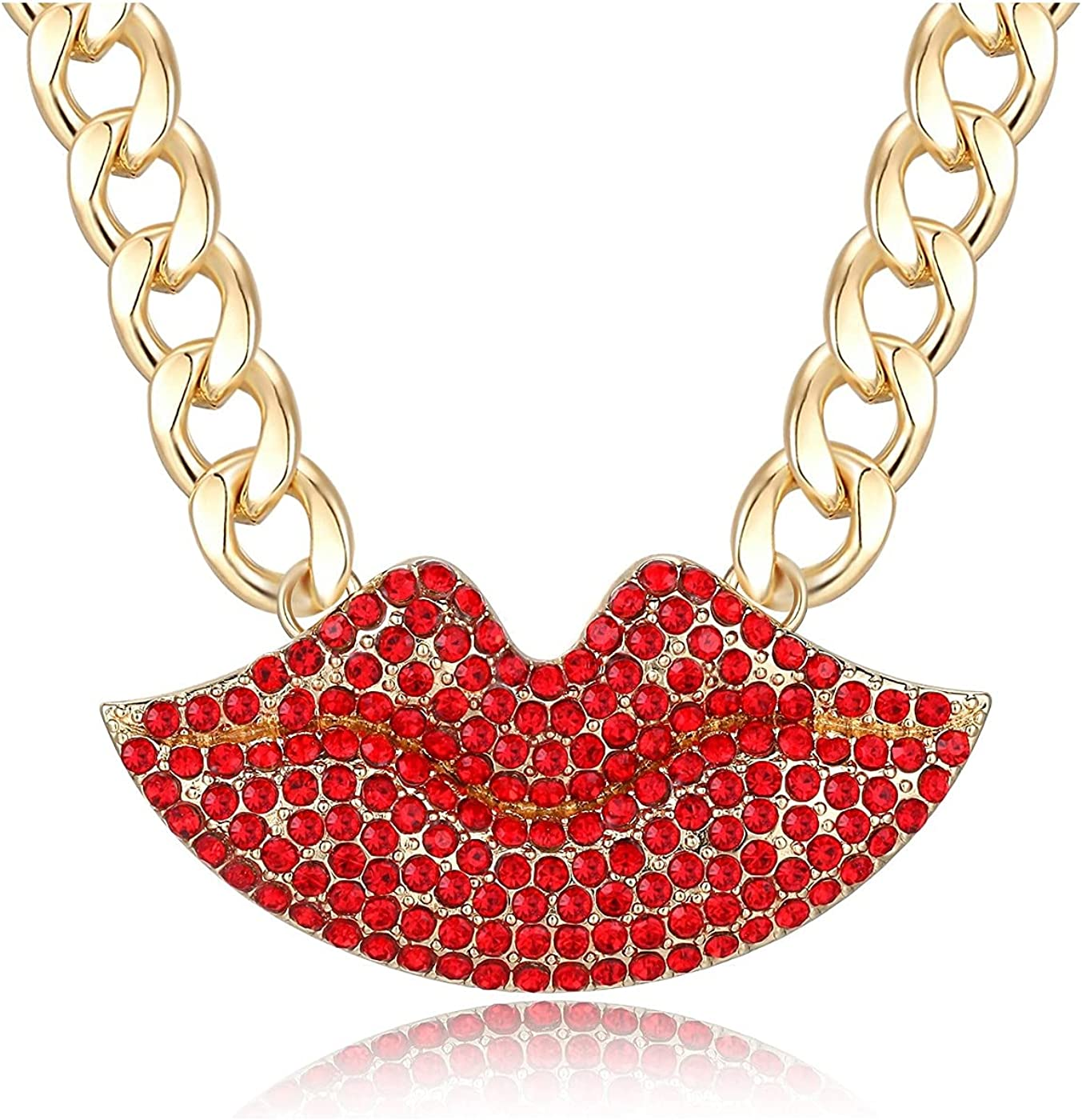 Women's Statement Crystal Lip Necklace Lovely Alloy Lip Costume Necklace Chunky Chain Choker Necklace Lip Shape Cocktail Jewelry