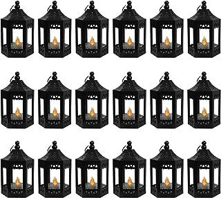 Vela Lanterns Decorative Mini Candle Lanterns for Decor with Flickering LED Tea Light Candle, Batteries Included, Black, S...