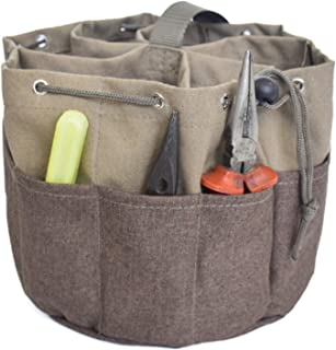 Parachute Garden Bag Small Parts Tool Bag,Drawstring Bucket Bag with 17 Pockets, Canvas Bucket Bag for Electrician, Plumbe...