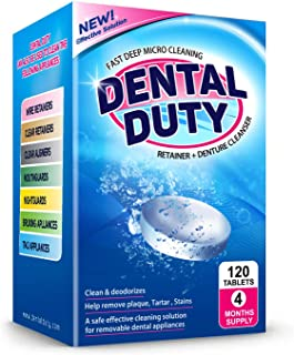 120 Retainer and Denture Cleaning Tablets -(4 Months Supply)- Cleaner Removes Bad Odor, Plaque, Stains from Dentures, Reta...