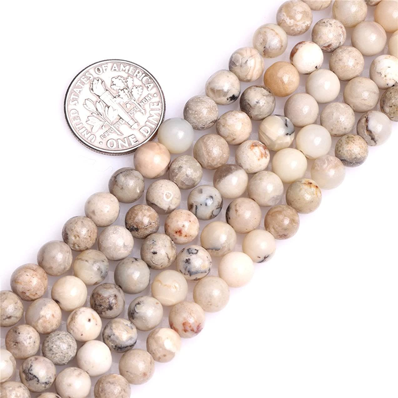 GEM-inside 6mm Natural Cream White African Opal Stone Gemstone Semi Precious Round Spacer Beads for Jewelry Making 15