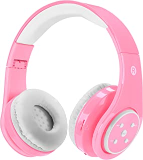 Kids Wireless Bluetooth Headphones Volume Limited 85db Stereo Sound Over-Ear Foldable Lightweight Children Headphones with Mic SD Card Slot up to 6-8 Hours Play time for Boys Girls Adults (Pink)