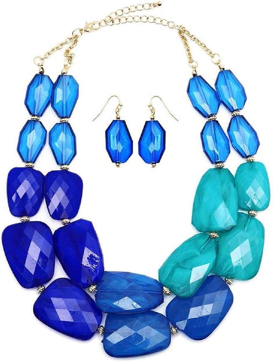 Secret for Longevity Multi Blue Sapphire Cobalt Lapis Turquoise Topaz Colored Resin Big Chunky Collar Statement Fashion Necklace EarringSet