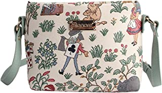 Signare Tapestry Mini Mint Green Satchel Cross-body Purse Bag with Adjustable Strap also as Small Shoulder Bag in Alice in Wonderland Design (XB02-ALICE)
