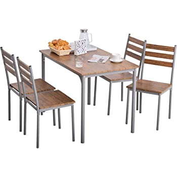 HOMCOM Modern 5-Piece Wooden Counter Dining Kitchen Table Set, 1 Table 4 Chairs Metal Legs, Suitable for Outdoors, Brown