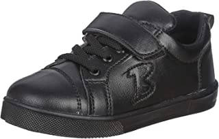 Bellino Velcro Strap Lace-Up Faux Leather Fashion Sneakers for Boys - Black, 31
