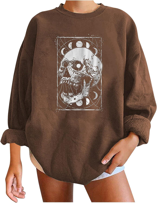 Toeava Halloween Sweatshirt for Women,Women's Moon Skeleton Graphics Pullover Shirts Tops Long Sleeve Blouses