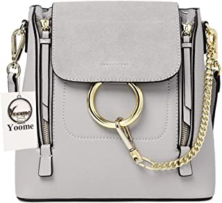 Casual Women's Retro Circular Ring Chain Bag Fashion Dull Polish Makeup Pouch For Girls (Grey(large+cowhide))