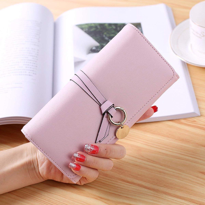 Cross New Simple Buckle Long Wallet Women's Soft Wallet Fashion Joker Women's Money for Work (color   Pink)