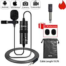 19 Feet Lavalier Microphone for Canon iPhone Podcast, BOYA Omnidirectional Condenser Recording Mic for Nikon Sony iPhone 8 8 plus 7 6 6s Plus DSLR Camcorder Audio Recorder Youtube Interview Video