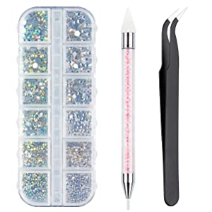 Crystals AB Nail Art Rhinestones Decorations Nail Stones for Nail Art Supplies and Clear Crystal Rhinestones with Pick Up Tweezer and Rhinestone Picker Dotting Pen