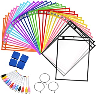 30 Pack Reusable Dry Erase Pockets Sheet Protectors 10 X 13 Inches - Mixed Colors - Ideal to use at School Teacher Supplies for Classroom Organization