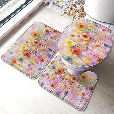 FFLSDR Pinturas Florales abstractas de Acuarela Juego de alfombras de baño de 3 Piezas Alfombra de baño Absorbente Antidesliz