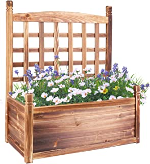 unho Outdoor Garden Bed 29.9x25x13.4in Wood Planter Box Climbing Plants Flowers Container with Trellis for Balcony Yard Pa...