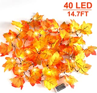 CPPSLEE Fall Decor Decorations Lighted Fall Garland - Halloween Decor Fall Garland Lights 40 LED 14.7ft- 8 Blinking Modes - Fall Decorations for Home Waterproof Maple Leaf String Lights