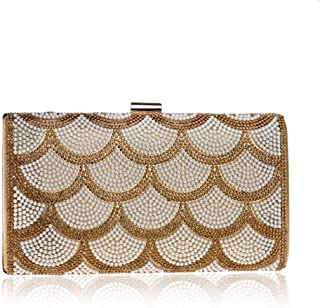 Ladies Banquet Bag Pearl Evening Bag, Ladies Dress Evening Clutch, Three Colors, 22 * 11.5 * 5 cm Shining (Color : Yellow) (Color : Yellow)