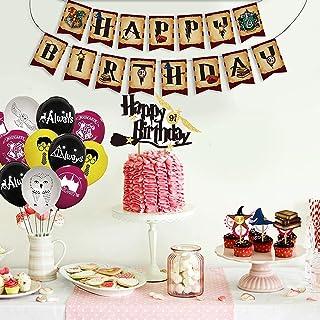 لافتة عيد ميلاد سعيد Happy Birthday للكعكة من هاري بوتر، لوازم حفلات عيد ميلاد سعيد ، زينة حفلات بطابع هاري بوتر للكب كيك