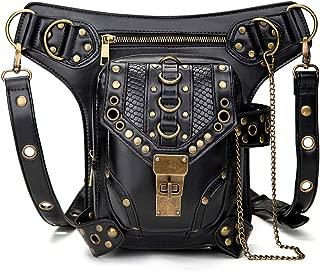 Vintage Chain Leather Handbag Steampunk Retro Motorcycle Backpack Shoulder Waist Bag