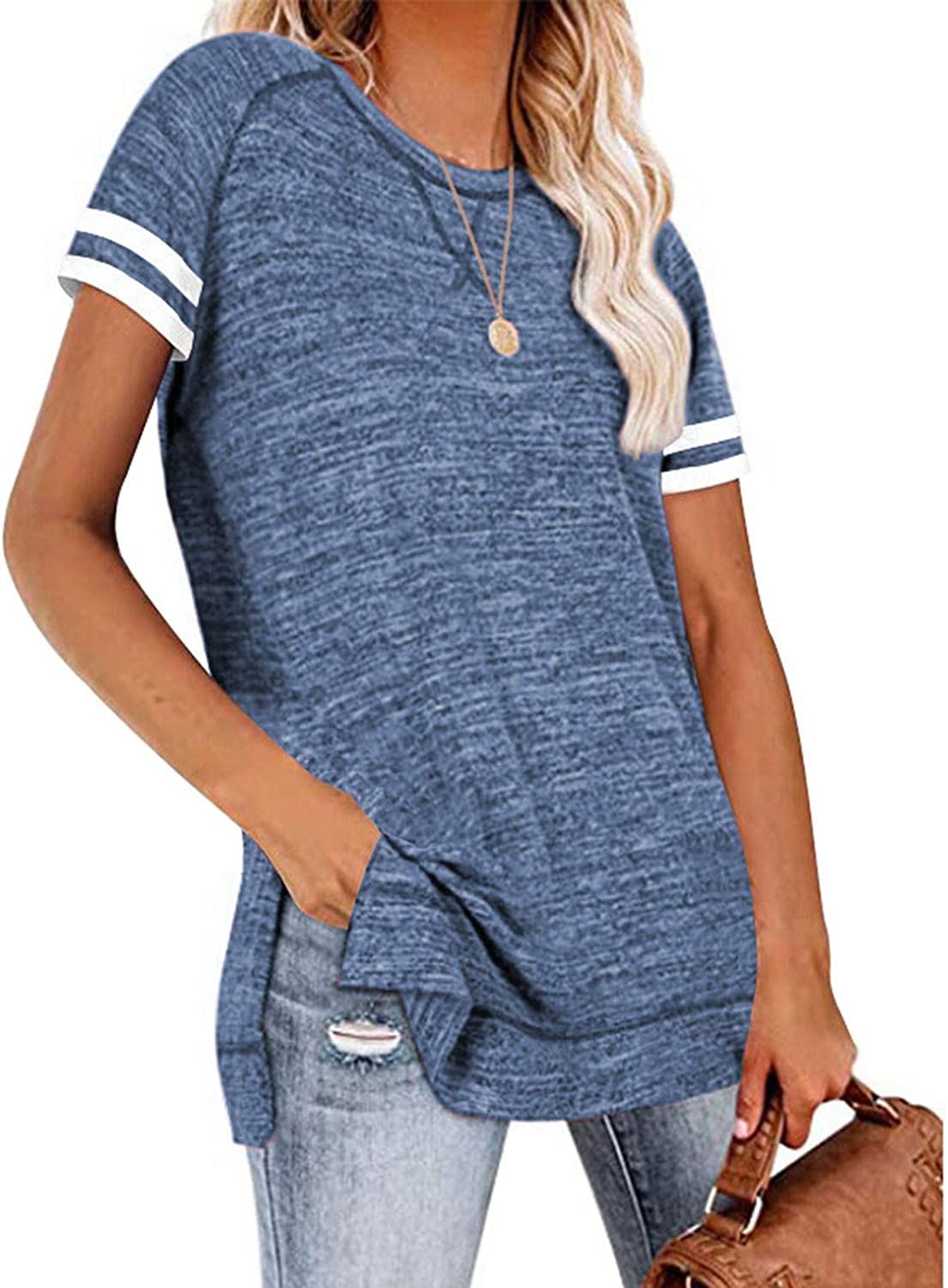 AODONG Shirts for Women Tops,Womens Leisure Solid Short Sleeves Round Neck Casual Loose Tops