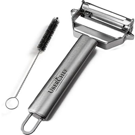 UberChef Premium Ultra Sharp Julienne Peeler & Vegetable Stainless Steel Ergonomic, Potato Fruit Peeler-Cleaning Brush