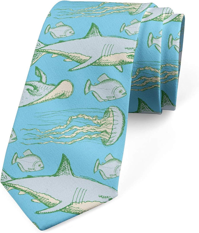 Ambesonne Men's Tie, Vintage Sea Creatures, Necktie, 3.7