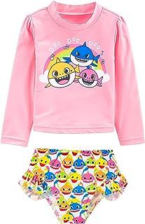 Mpptubg Baby Shark Swimsuit Toddler Girl Swimsuit Girls Long Sleeve Swimsuit Top + Shark Shorts Swimsuit Two Piece