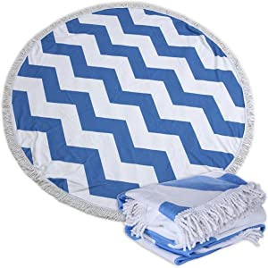 Large Round Picnic Mat Beach Towel Blanket with Tassels Ultra Soft Super Water Absorbent Multi-Purpose Towel 59 inch Across Multifunctional Purposes Blanket, Wash Machine Easy wash (37 Wave)