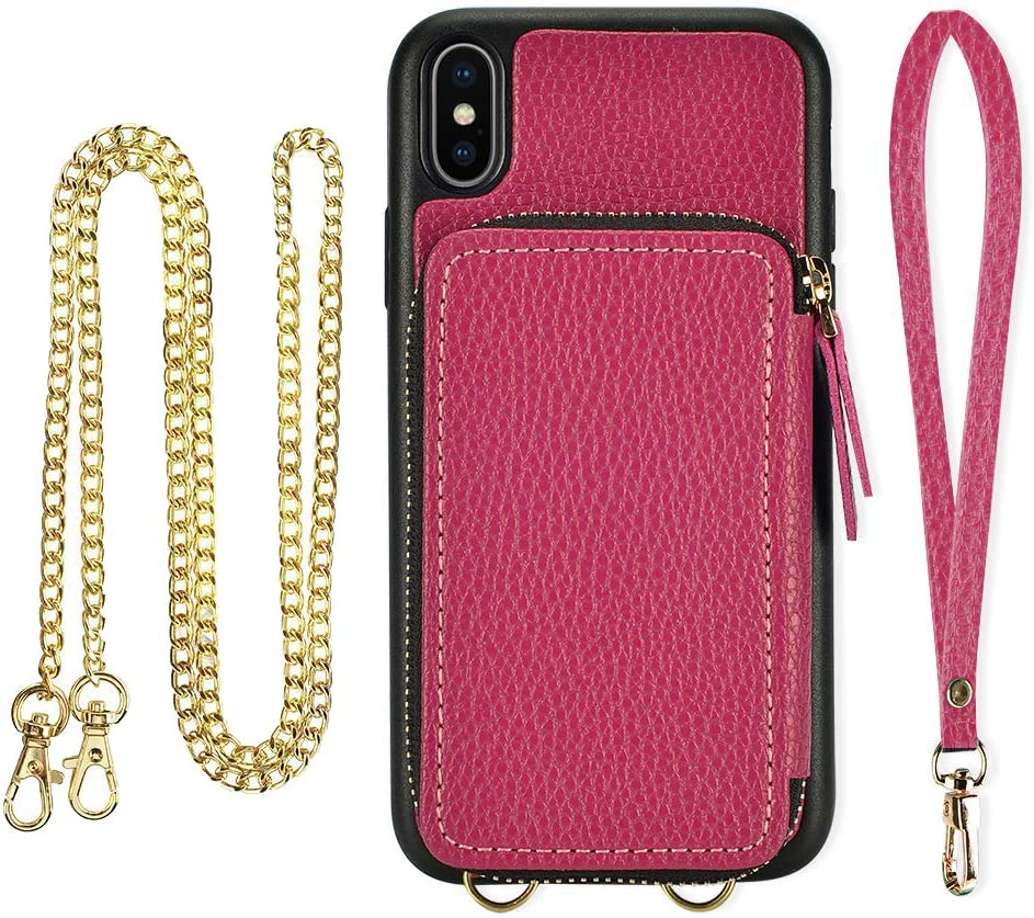 iPhone X Wallet case, ZVE iPhone Xs Case with Credit Card Holder Slot Crossbody Chain Wristlet Handbag Purse Protective Zipper Leather Case Cover for Apple iPhone Xs and X, 5.8 inch - Rose Purple